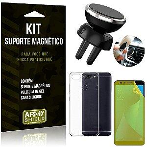 Suporte Magnético Zenfone Max Plus M1 ZB570TL Suporte + Capa Silicone +Película Gel - Armyshield