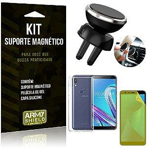 Suporte Magnético Zenfone Max Pro M1 ZB602KL Suporte + Capa Silicone + Película Gel - Armyshield