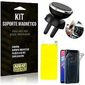 Suporte Magnético Zenfone Max Pro M2 ZB631KL Suporte + Capa Silicone + Película Gel - Armyshield