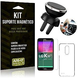 Suporte Magnético LG K10 Novo Suporte + Capa Silicone + Película Vidro - Armyshield