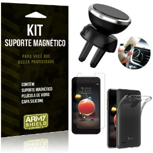 Suporte Magnético LG K9 Suporte + Capa Silicone + Película Vidro - Armyshield