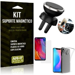 Suporte Magnético Xiaomi Mi 8 Suporte + Capa Silicone + Película Vidro - Armyshield