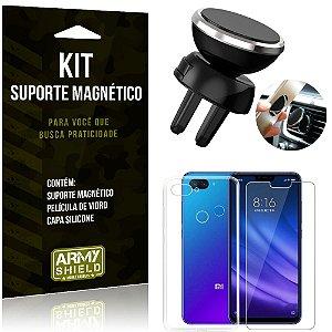 Suporte Magnético Xiaomi Mi 8 Lite Suporte + Capa Silicone + Película Vidro - Armyshield