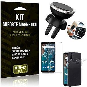 Suporte Magnético Xiaomi Mi A2 (Mi 6X) Suporte + Capa Silicone + Película Vidro - Armyshield