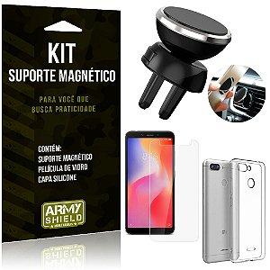 Suporte Magnético Xiaomi Redmi 6 Suporte + Capa Silicone + Película Vidro - Armyshield