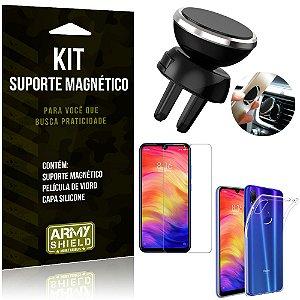 Suporte Magnético Xiaomi Redmi Note 7 - Note 7 Pro Suporte + Capa + Película Vidro - Armyshield