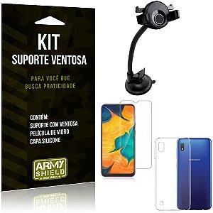 Suporte Ventosa Auto Galaxy A10 Suporte + Capa Silicone + Película Vidro - Armyshield