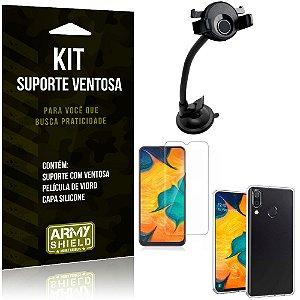 Suporte Ventosa Auto Galaxy A30 Suporte + Capa Silicone + Película Vidro - Armyshield