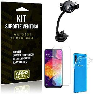 Suporte Ventosa Auto Galaxy A50 Suporte + Capa Silicone + Película Vidro - Armyshield