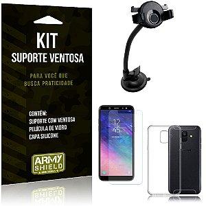 Suporte Ventosa Auto Galaxy A6 Suporte + Capa Silicone + Película Vidro - Armyshield