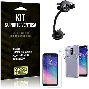 Suporte Ventosa Auto Galaxy A6 Plus Suporte + Capa Silicone + Película Vidro - Armyshield