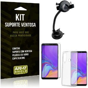 Suporte Ventosa Auto Galaxy A9 (2018) Suporte + Capa Silicone + Película Vidro - Armyshield