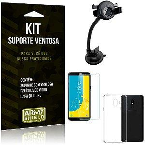 Suporte Ventosa Auto Galaxy J4 (2018) Suporte + Capa Silicone + Película Vidro - Armyshield