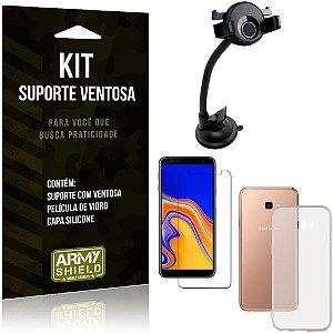 Suporte Ventosa Auto Galaxy J4 Plus (2018) Suporte + Capa Silicone + Película Vidro - Armyshield