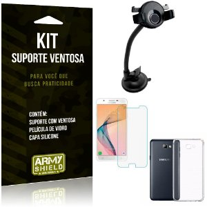Suporte Ventosa Auto Galaxy J5 Prime Suporte + Capa Silicone + Película Vidro - Armyshield