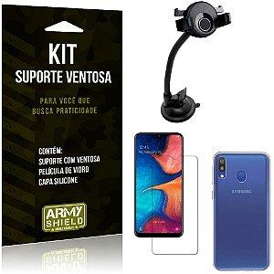 Suporte Ventosa Auto Galaxy M20 Suporte + Capa Silicone + Película Vidro - Armyshield