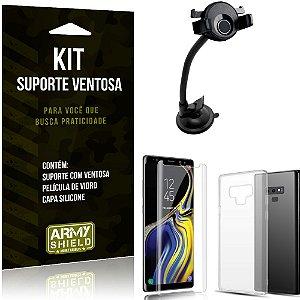 Suporte Ventosa Auto Galaxy Note 9 Suporte + Capa Silicone + Película Vidro - Armyshield