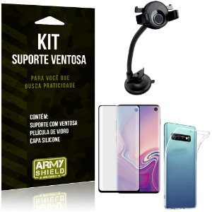 Suporte Ventosa Auto Galaxy S10 Suporte + Capa Silicone + Película Vidro - Armyshield