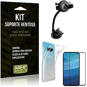 Suporte Ventosa Auto Galaxy S10e Suporte + Capa Silicone + Película Vidro - Armyshield