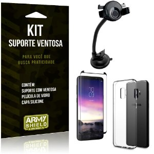 Suporte Ventosa Auto Galaxy S9 Suporte + Capa Silicone + Película Vidro - Armyshield