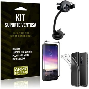 Suporte Ventosa Auto Galaxy S9 Plus Suporte + Capa Silicone + Película Vidro - Armyshield