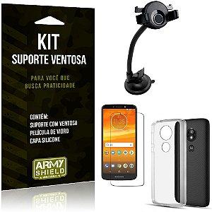 Suporte Ventosa Auto Motorola Moto E5 Play Suporte + Capa Silicone + Película Vidro - Armyshield