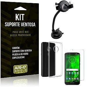 Suporte Ventosa Auto Motorola Moto G6 Suporte + Capa Silicone + Película Vidro - Armyshield