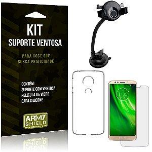 Suporte Ventosa Auto Motorola Moto G6 Play Suporte + Capa Silicone + Película Vidro - Armyshield