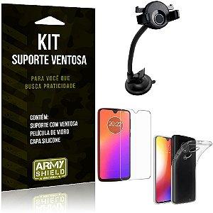 Suporte Ventosa Auto Motorola Moto G7 Suporte + Capa Silicone + Película Vidro - Armyshield