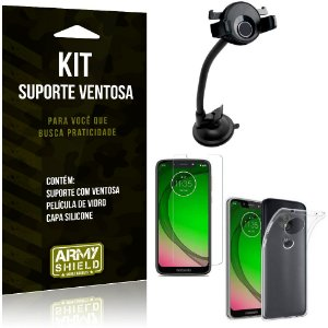 Suporte Ventosa Auto Motorola Moto G7 Play Suporte + Capa Silicone + Película Vidro - Armyshield