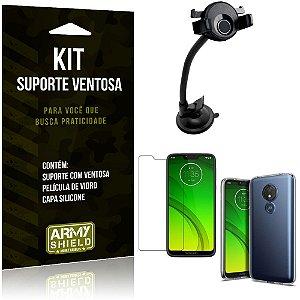 Suporte Ventosa Auto Motorola Moto G7 Power Suporte + Capa Silicone +Película Vidro - Armyshield