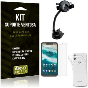 Suporte Ventosa Auto Motorola Moto One Suporte + Capa Silicone + Película Vidro - Armyshield