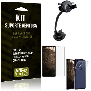 Suporte Ventosa Auto Moto One Vision Suporte + Capa Silicone + Película Vidro - Armyshield