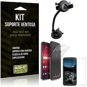 Suporte Ventosa Auto Motorola Moto Z3 Play Suporte + Capa Silicone + Película Vidro - Armyshield