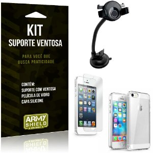 Suporte Ventosa Auto Apple iPhone 5-5S-SE Suporte + Capa Silicone + Película Vidro - Armyshield