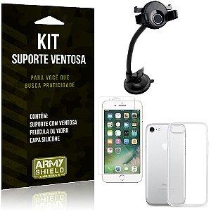 Suporte Ventosa Auto Apple iPhone 7 Suporte + Capa Silicone + Película Vidro - Armyshield