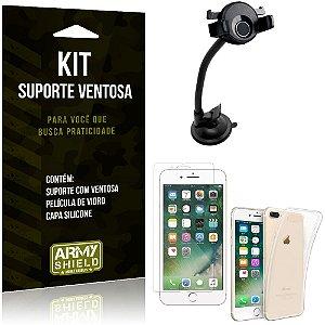Suporte Ventosa Auto Apple iPhone 7 Plus Suporte + Capa Silicone + Película Vidro - Armyshield