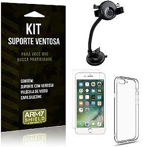 Suporte Ventosa Auto Apple iPhone 8 Plus Suporte + Capa Silicone + Película Vidro - Armyshield
