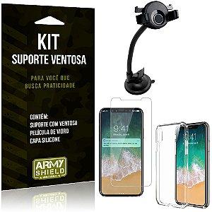 Suporte Ventosa Auto Apple iPhone X Suporte + Capa Silicone + Película Vidro - Armyshield
