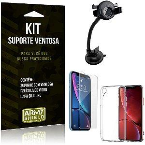Suporte Ventosa Auto Apple iPhone XR 6.1 Suporte + Capa Silicone + Película Vidro - Armyshield