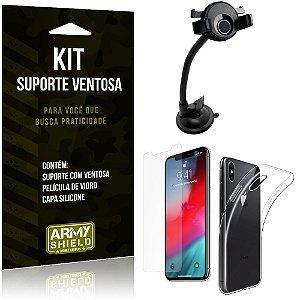 Suporte Ventosa Auto Apple iPhone XS Max 6.5 Suporte +Capa Silicone +Película Vidro - Armyshield