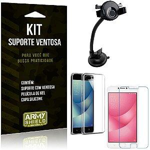 Suporte Ventosa Auto Zenfone 4 Max - 5.5' ZC554KL Suporte + Capa + Película Gel - Armyshield