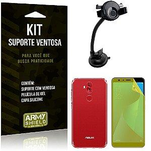 Suporte Ventosa Auto Zenfone 5 Selfie ZC600KL Suporte + Capa Silicone +Película Gel - Armyshield
