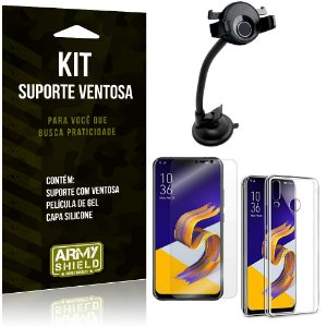 Suporte Ventosa Auto Zenfone 5 ZE620KL Suporte + Capa Silicone + Película Gel - Armyshield