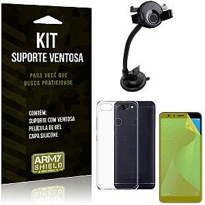 Suporte Ventosa Auto Zenfone Max Plus M1 ZB570TL Suporte + Capa + Película Gel - Armyshield