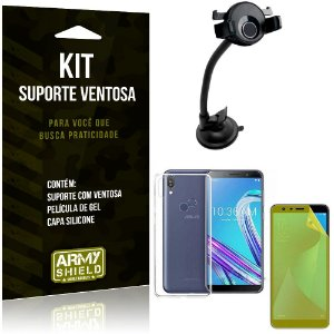 Suporte Ventosa Auto Zenfone Max Pro M1 ZB602KL Suporte + Capa + Película Gel - Armyshield