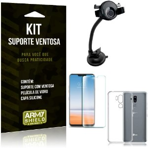 Suporte Ventosa Auto LG G7 Suporte + Capa Silicone + Película Vidro - Armyshield