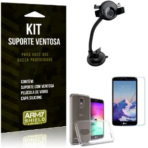 Suporte Ventosa Auto LG K10 Pro Suporte + Capa Silicone + Película Vidro - Armyshield