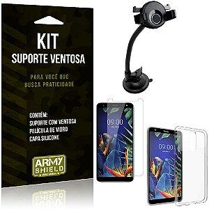 Suporte Ventosa Auto LG K12 Plus Suporte + Capa Silicone + Película Vidro - Armyshield