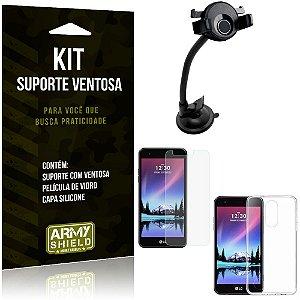 Suporte Ventosa Auto LG K4 Novo Suporte + Capa Silicone + Película Vidro - Armyshield